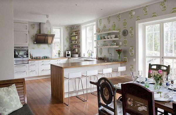 интерьер кухни-гостиной с зонированием самой мебелью