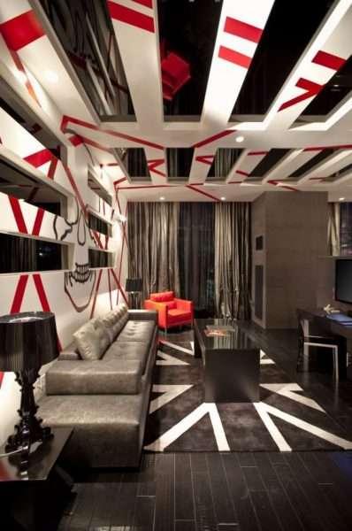 стильный декор стен и потолка в интерьере современной гостиной