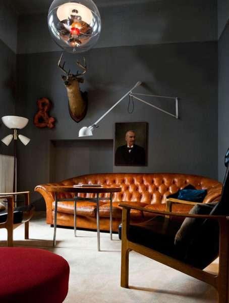 стиль лофт в интерьере современной гостиной