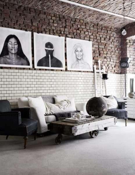 лофт в интерьере современной гостиной