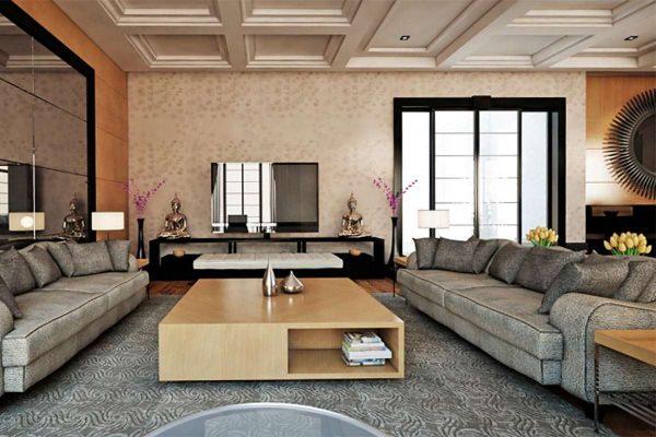 Интерьер гостиной в современном стиле в бежево-серых тонах