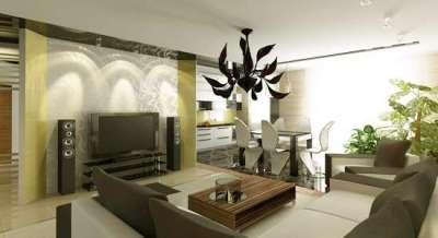 совмещённая с кухней гостиная в оливковых тонах