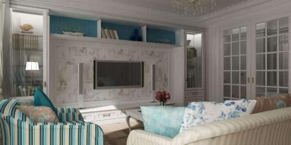 Гостиная с мебелью в полоску и цветастой панелью под телевизор