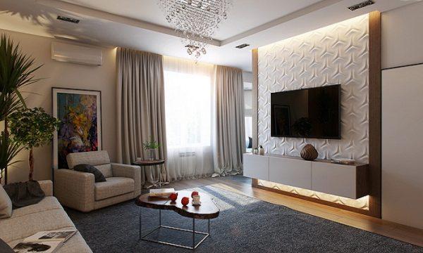 телевизор в интерьере гостиной на декоративной вставке