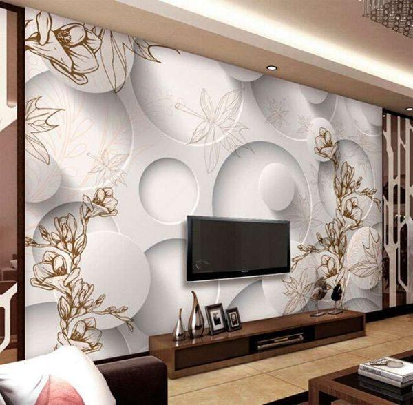 телевизор в интерьере гостиной на стене с объемными фотообоями