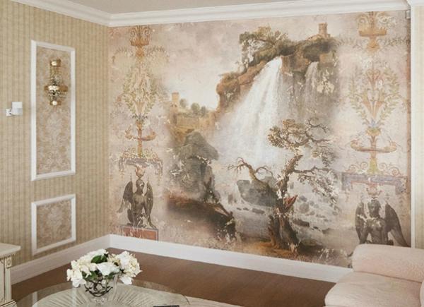 Фреска на флизелиновой основе в интерьере гостиной