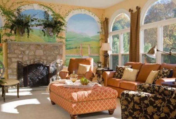фреска, повторяющая пейзаж за окном в интерьере гостиной