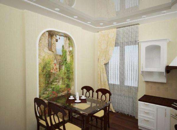 фреска в интерьере гостиной с аркой
