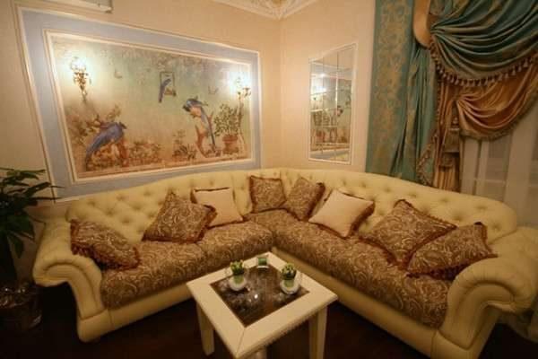 фреска картина фреска в интерьере гостиной