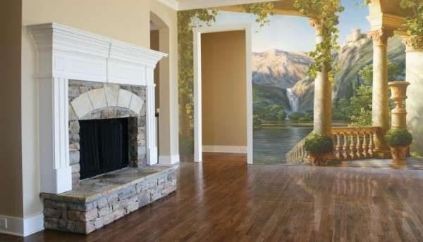 фреска в интерьере гостиной с камином