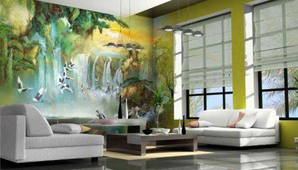 фреска на всю стену в интерьере гостиной