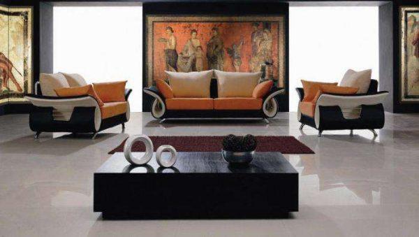 фреска в интерьере гостиной в японском стиле