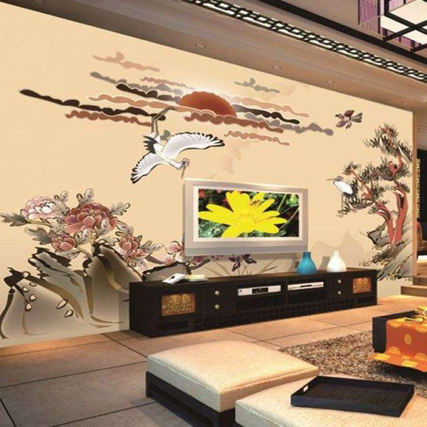 фреска в японском стиле в интерьере гостиной