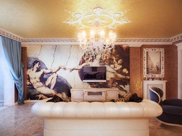 Фрески в интерьере гостиной комнаты
