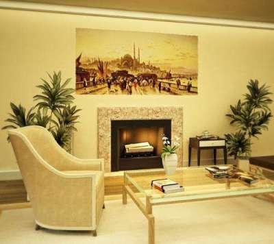 Фрески в интерьере гостиной на самоклеящейся основе