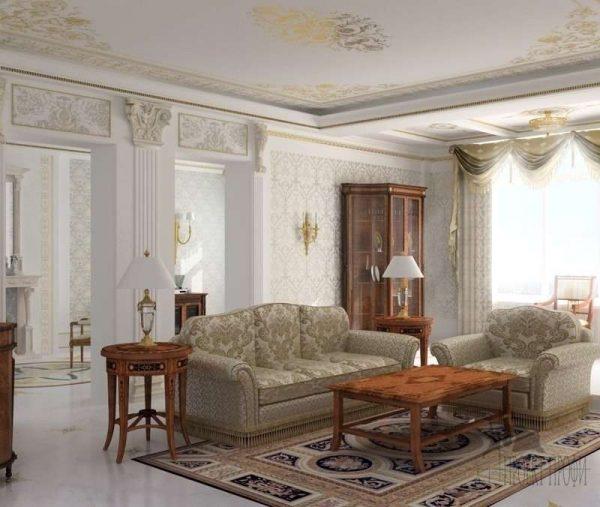 Интерьер гостиной выполнен в классическом стиле