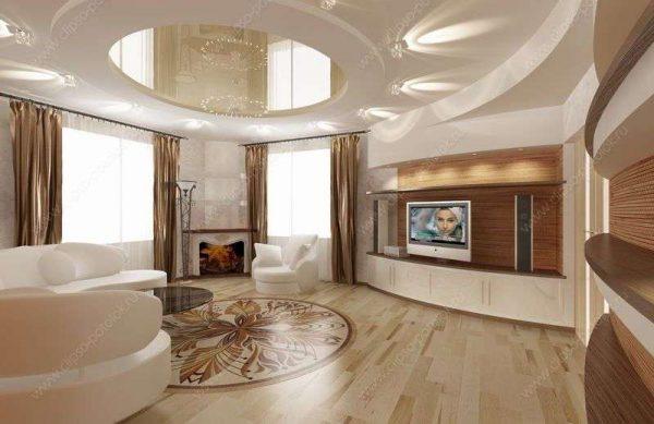 натяжной потолок в гостиной 20 квадратных метров