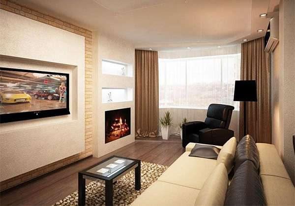 диван бежевый в интерьере гостиной 20 кв. метров