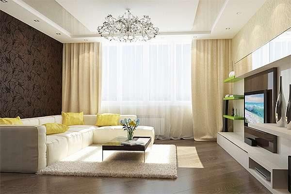 декор стены в интерьере гостиной 20 кв. метров