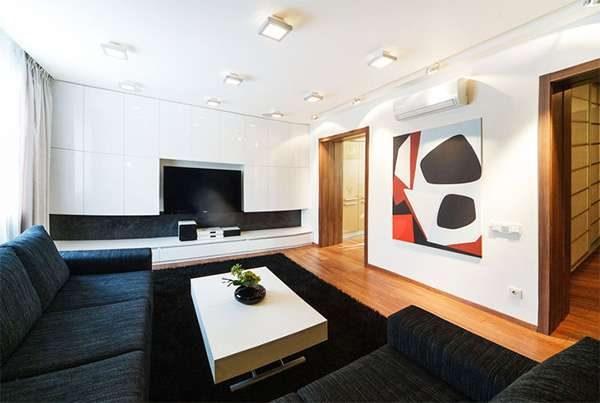 минимализм в интерьере гостиной 20 кв. метров