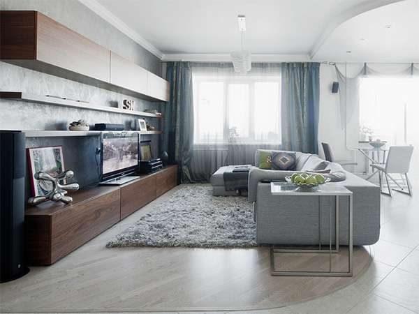 серый в интерьере гостиной 20 кв. метров