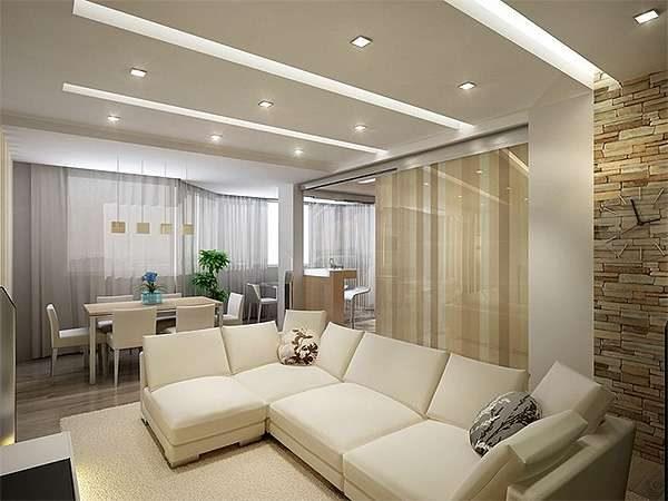 угловой диван в интерьере гостиной 20 кв. метров