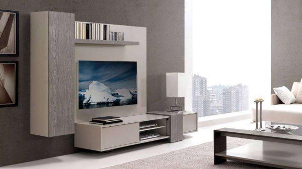 модульная мебель с глянцевыми фасадами в гостиной