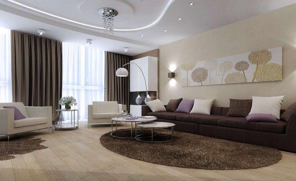 Интерьер гостиной просто и со вкусом с картиной на стене