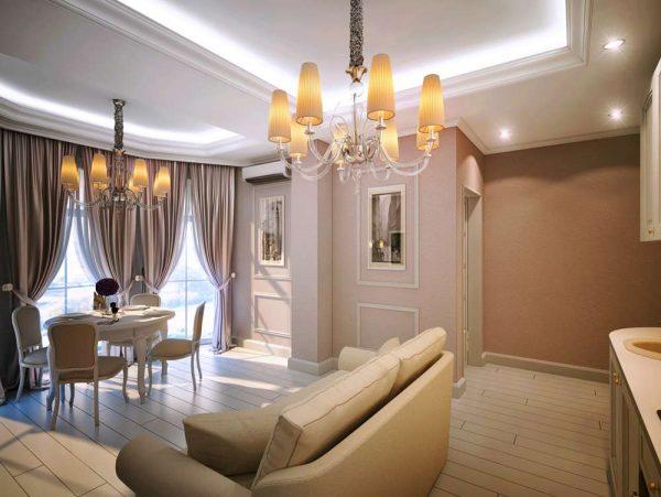 Смешанное освещение в гостиной
