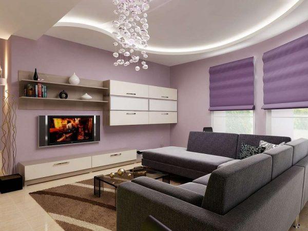 стильный дизайн лаконичной гостиной