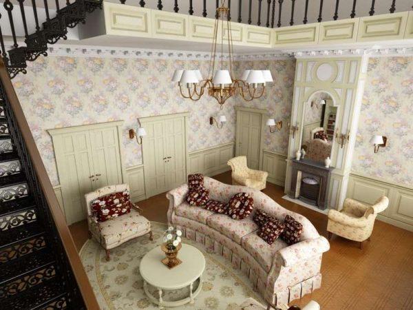 полы в интерьере гостиной прованс