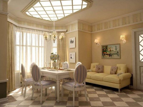 освещение в интерьере гостиной в стиле прованс