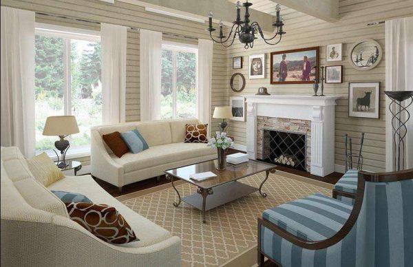 в интерьере гостиной в стиле прованс роскошный декор и камин