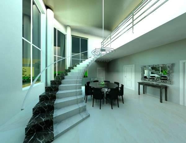 лестница из мрамора в интерьере гостиной