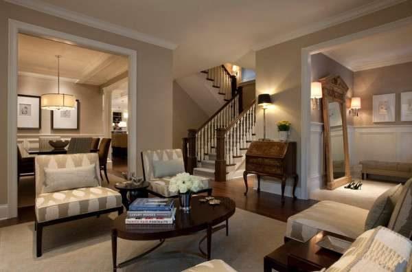двухмаршевая лестница в интерьере гостиной