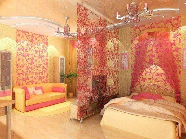 зонирование яркой гостиной-спальни 18 кв.метров