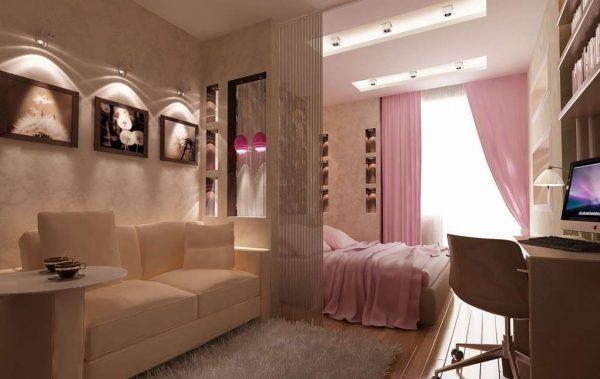 перегородка для зонирования гостиной-спальни 18 кв.метров