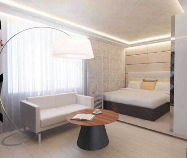светлый интерьер гостиной спальни 18 кв. метров