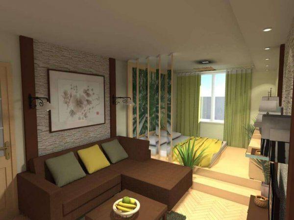 перегородка из ламелей в интерьере гостиной спальни 18 кв. метров