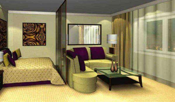 оливковый и фиолетовый цвета в интерьере гостиной спальни 18 кв. метров