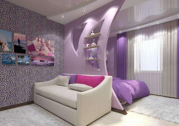 фиолетовый в интерьере гостиной спальни 18 кв. метров