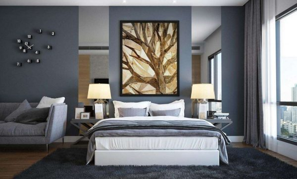 картина в интерьере гостиной спальни 18 кв. метров