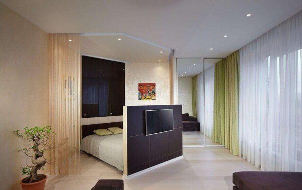 стильный интерьер гостиной спальни 18 кв. метров