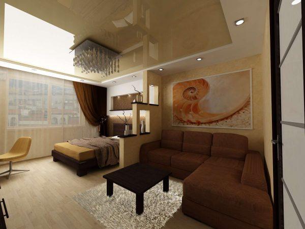 гостиная и спальня разделённая перегородкой