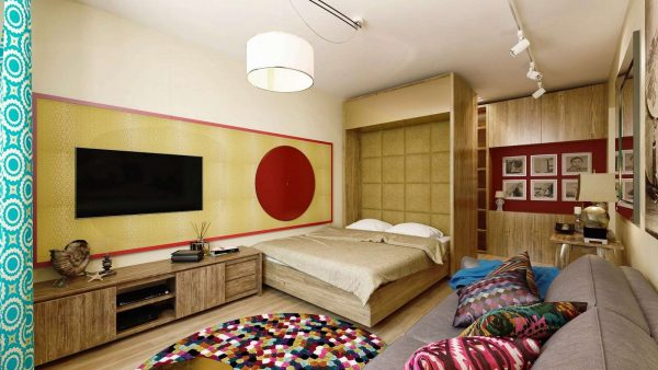дизайн гостиной-спальни 18 кв.метров