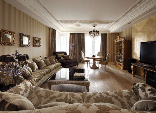 роскошный интерьер гостиной в английском стиле