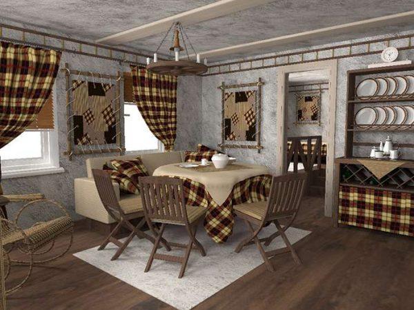 серые стены и текстиль в интерьере гостиной в английском стиле