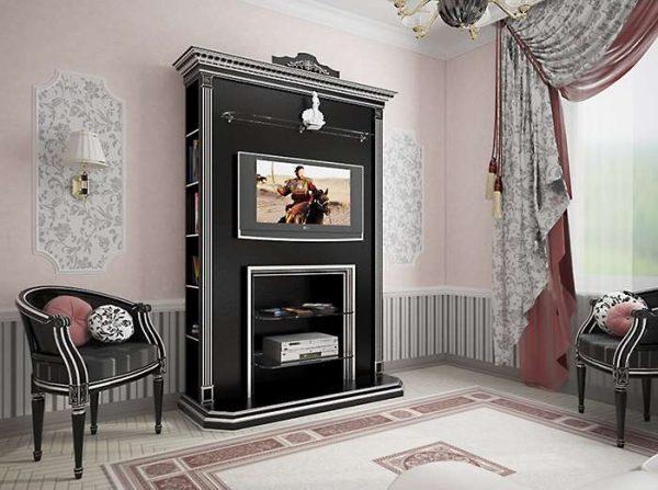 в интерьере гостиной в английском стиле роскошный шкаф