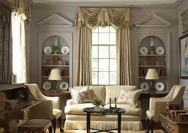 текстиль и шторы в интерьере гостиной в английском стиле