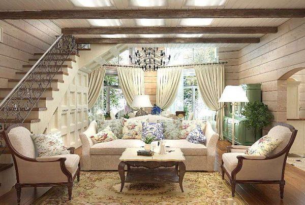 гостиная в деревянном доме в стиле прованс
